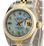 Rolex Lady Datejust Quickset  Blue MOP Diamond Dial 18K Gold Fluted Bezel 26mm
