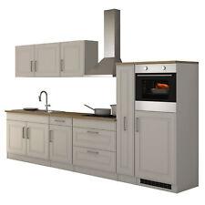 Küchenzeile Landhaus Einbauküche mit Elektrogeräten Küchenblock 320 cm weiss