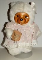 """Robert Raikes Teddy Bear Sally #17007 Carved Wood Face Signed 16"""" w/Stand"""
