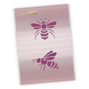 Bees Stencil Set -  2 x Reusable 7cm Bee Stencil Templates by Craftstar