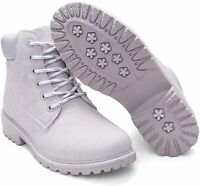 Geddard Waterproof Ankle Boots for Women Low Heel Lace Up Work, Grey, Size 8.5 o