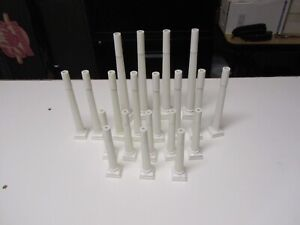 Large VINTAGE LOT OF  20 WEDDING CAKE DECORATING WHITE PILLARS COLUMNS 3 DIFF.