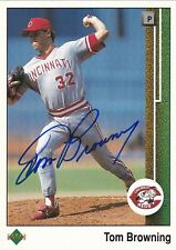 TOM BROWNING CINCINNATI REDS SIGNED 1989 UPPER DECK CARD KANSAS CITY ROYALS