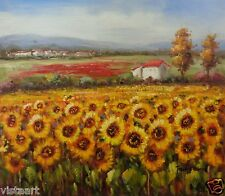 "Oil Painting on Stretched Canvas- ""Field of Enormous Sunflowers""- 20x24"""