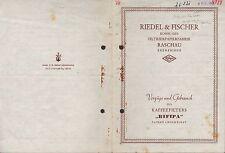RASCHAU, Prospekt 1955, Riedel & Fischer KG Filterpapier-Fabrik RIFIPA