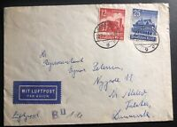 1940 Hamburg Germany Airmail Censored Cover To Falster Denmark Semi Postal