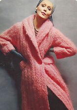 Vintage Knitting PATTERN to make Fuzzy Mohair Coat Shawl Collar Cable MohairCoat
