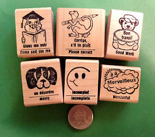 Teachers' French/English Rubber Stamps, Set of 6,