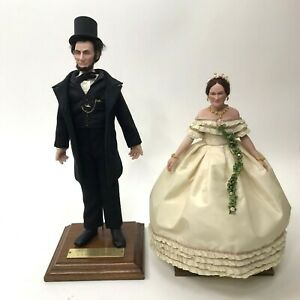 US Historical Society Abraham Mary Todd Lincoln Living Image Doll Set Historical