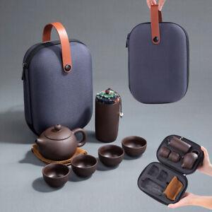 Kungfu Tea Set Chinese Travel Ceramic Porcelain Teapot Portable Tea Cup With Bag