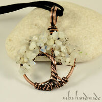 Natural Rainbow Moonstone Crystals Tree Of Life Necklace Artisan Wire Wrapped