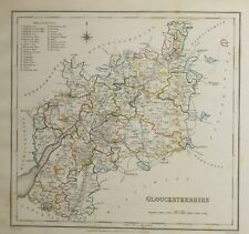 1845 ANTIQUE COUNTY MAP GLOUCESTERSHIRE THORNBURY CIRENCESTER PAINSWICK NEWHAM