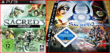 PS3 3 Games: Sacred 2 -fallen Lords + NUOVO -sacred 3 Uncut -First EDITION +