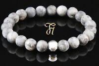 Larvikit 925er sterling Silber Armband Bracelet Perlenarmband grau matt 8mm