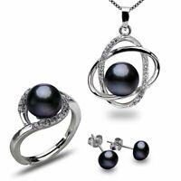 925er Sterling Silber Set Kette Anhänger Ohrstecker Ring Süßwasser Perle AAA