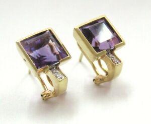 L@@K Vntg Real 14K Yellow Gold Stud Earrings w/ Amethyst & Diamonds Omega Backs