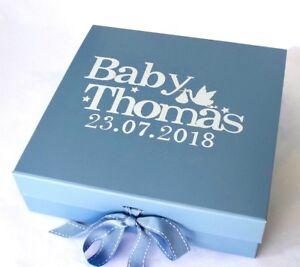 LARGE LUXURY BLUE PERSONALISED GIFT BOX BABY BOY KEEPSAKE BOX