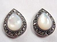 Mother of Pearl Marcasite 925 Sterling Silver Stud Teardrop Earrings
