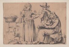 Acquarello Famiglia in Costumi Regionali, Pinelli Bartolomeo (attr.), 1810-1830