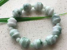 Certified Natural A Grade Exquisite 14mm Light green Jadeite Carving Bracele 326