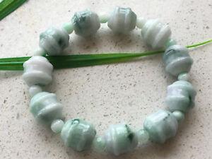 Certified Natural A JADE jadeite 14mm Light green Jadeite Carving Bracele 326