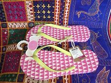 Joules Flip Flops Pink And Yellow Size 3