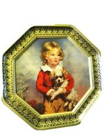 Vintage Metal Tin/Container-Cookie/Biscuit-8 Sided-Girl in Bonnet-Boy with Dog