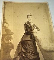 Antique Victorian American Fashion Beautiful Woman! New York Cabinet Photo! US!