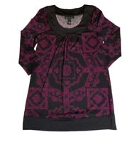 INC International Concepts Women Small S Tunic Shirt Blouse Top Black Purple