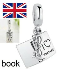 Love Reading Book, Glasses Pendant S925 Bracelet Charm dangle UK STOCK FAST POST