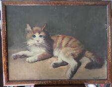 Tableau Ancien Portrait De Chat Roux Aux Yeux Bleus Signé Haglmayr Début XXème