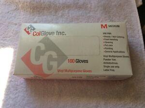 ColGlove Vinyl Gloves Multi-Purpose Gloves, Powder-Free Latex Free Medium 100 ct