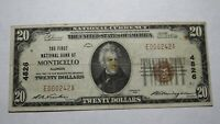 $20 1929 Monticello Illinois IL National Currency Bank Note Bill! Ch. #4826 RARE