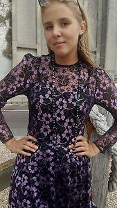 Vintage 1980's Purple and Black Floral Lace Dress. Size 10.
