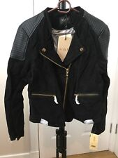 SAKI Sweden Black Leather Suede Biker Jacket