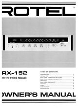 Rotel RX-152 Receiver Owners Instruction Manual