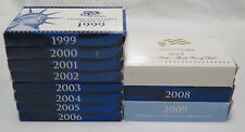 Lot of 11 1999 to 2009 U.S. Proof Sets 127 S-Mint Coins