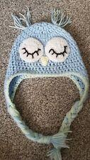 Handmade Crochet Sleeping Owl Hat Newborn gift woolen baby hat photoshoot
