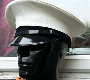 56 cm ROYAL NAVY OFFICERS Peaked CAP/HAT Military Visor RN CLASS 1 Dress Genuine