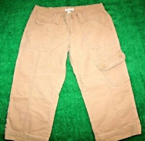 Junior's Aeropostale Beige Cargo Capri Pants 100% Cotton Size 5/6