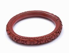 19C Chinese Red Cinnabar Lacquer Deeply Carved Carving Flower Bangle Bracelet