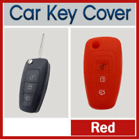 Silicone Car Key Cover Protector Fits for Ford Ranger, Focus, Fiesta, Mondeo RED
