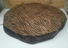 """Ashford Court Leather Patch 36"""" round Dog Bed Cover Only Stripes, Tiger Print"""