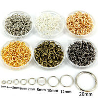 3/4/5/6/7/8/10/12/20MM Gold&Silver  6 Colors Metal Single Circl Split Jump Rings