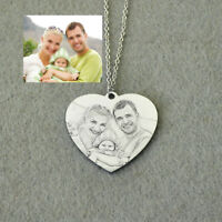Personalized Photo Necklace Memory Heart Necklace Engraved Picture Necklace