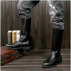 Stylish  Mens Worker Knee High Riding Zipper Military Boots Leather Combat Shoes