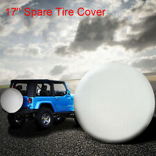 "17"" Universal White Spare Tire Cover For Weather Protection with Elastic Band"