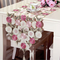 Pink Flower Embroidered Table Runner Wedding Party Decor Satin Fabric 40x210cm