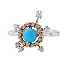 18k White & Rose Gold Dancing Diamond & Turquoise Ring