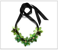 MARNI FOR H&M ELEGANT GREEN/GOLD FLOWER BLACK RIBBON STATEMENT NECKLACE